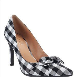 Franco Sarto Black White Plaid High Heels 8.5 NWOT